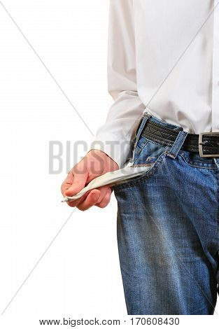 Man in Jeans shows the Empty Pocket Closeup on the White Background