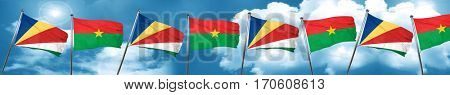 seychelles flag with Burkina Faso flag, 3D rendering