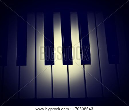 Vignetting Photo of Spot of the Light on the Piano Keys closeup