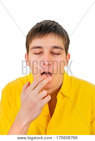 Young Man feel Sick Isolated on the White Background