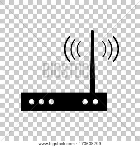 Wifi modem sign. Black icon on transparent background.