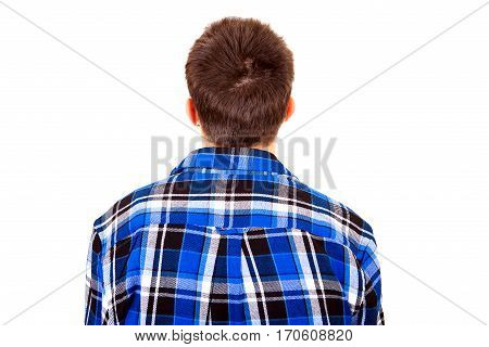 Young Man Rear View on the White Background