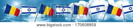 Romania flag with Israel flag, 3D rendering