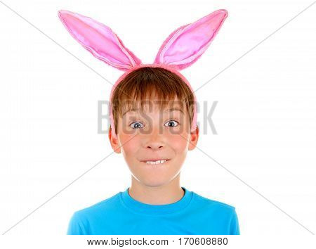 Funny Kid with Rabbit Ears Isolated on the White Background