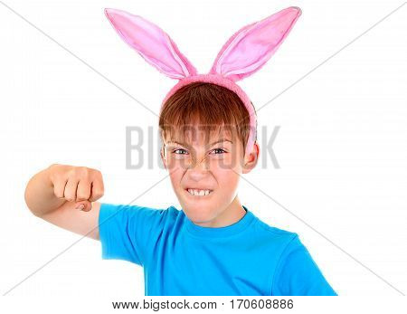 Kid with Rabbit Ears threaten with a Fist Isolated on the White Background