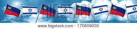Liechtenstein flag with Israel flag, 3D rendering