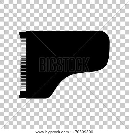 Concert grand piano sign. Black icon on transparent background.
