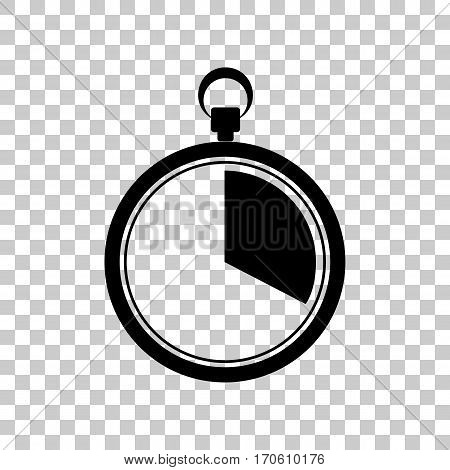 The 20 seconds, minutes stopwatch sign. Black icon on transparent background.