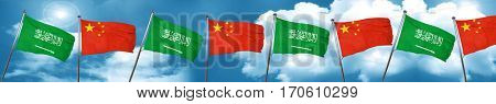 Saudi Arabia flag with China flag, 3D rendering