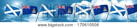 scotland flag with Cayman islands flag, 3D rendering