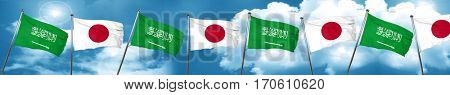 Saudi Arabia flag with Japan flag, 3D rendering