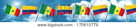 Senegal flag with Colombia flag, 3D rendering