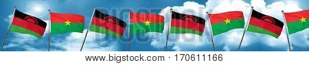 Malawi flag with Burkina Faso flag, 3D rendering