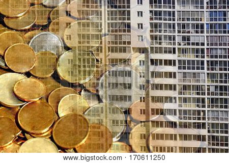 The facade of a residential high-rise house on a background of money . The concept of selling in the real estate market