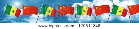 Senegal flag with China flag, 3D rendering