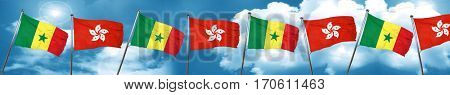 Senegal flag with Hong Kong flag, 3D rendering