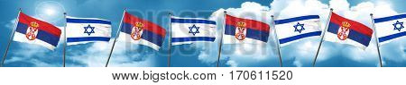 Serbia flag with Israel flag, 3D rendering