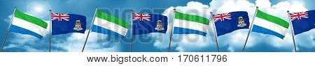 Sierra Leone flag with Cayman islands flag, 3D rendering