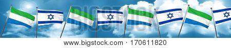 Sierra Leone flag with Israel flag, 3D rendering