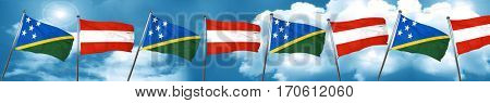 Solomon islands flag with Austria flag, 3D rendering