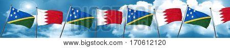 Solomon islands flag with Bahrain flag, 3D rendering