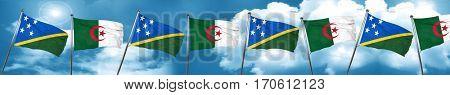 Solomon islands flag with Algeria flag, 3D rendering