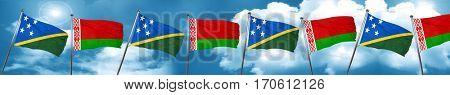 Solomon islands flag with Belarus flag, 3D rendering