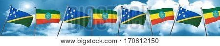 Solomon islands flag with Ethiopia flag, 3D rendering