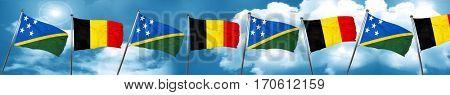 Solomon islands flag with Belgium flag, 3D rendering