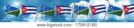 Solomon islands flag with cuba flag, 3D rendering