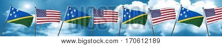 Solomon islands flag with American flag, 3D rendering