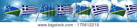 Solomon islands flag with Greece flag, 3D rendering