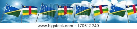 Solomon islands flag with Central African Republic flag, 3D rend