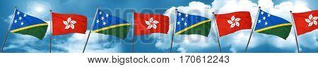 Solomon islands flag with Hong Kong flag, 3D rendering
