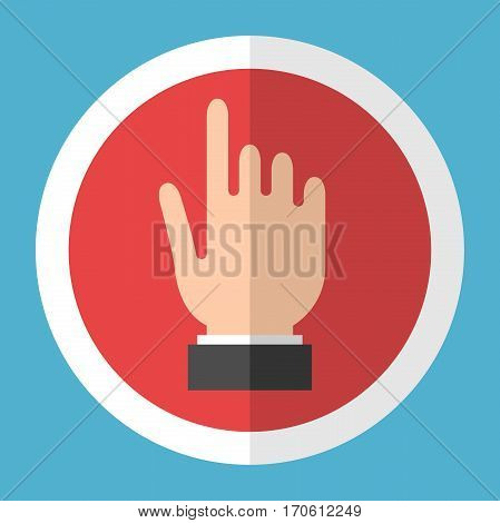 Hand touching screen in red circle with white frame on blue background. User interface concept. Flat design icon. Vector illustration. EPS 8 no transparency