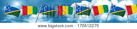 Solomon islands flag with Guinea flag, 3D rendering