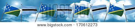 Solomon islands flag with Botswana flag, 3D rendering