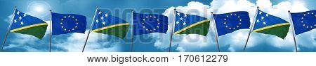 Solomon islands flag with european union flag, 3D rendering