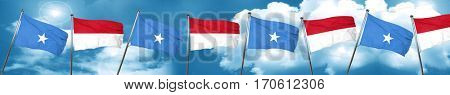 Somalia flag with Indonesia flag, 3D rendering