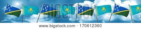 Solomon islands flag with Kazakhstan flag, 3D rendering