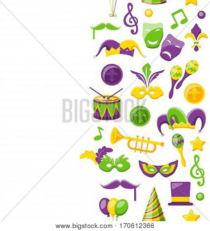 Illustration Cute Background for Mardi Gras and Carnival, Seamless Pattern, Fat Tuesday - Vector