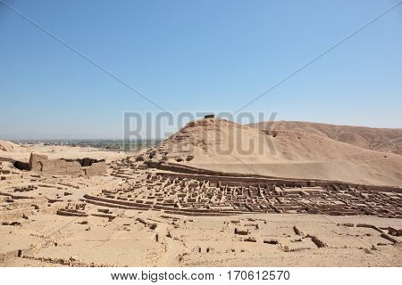 Ruined homes and tombs of the Ancient Egyptian town of Deir el Medina, Luxor, Egypt
