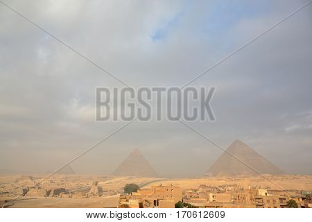 Great Egyptian pyramids in Giza, Cairo
