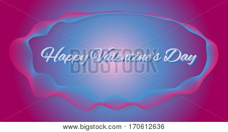 Vector pink and blue background with frame of guilloche. For holiday Valentine's Day