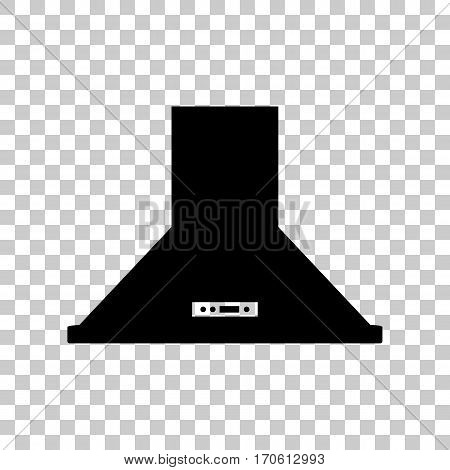 Exhaust hood. Kitchen ventilation sign. Black icon on transparent background.