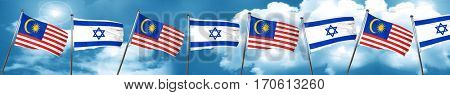 Malaysia flag with Israel flag, 3D rendering