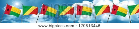 Guinea bissau flag with congo flag, 3D rendering