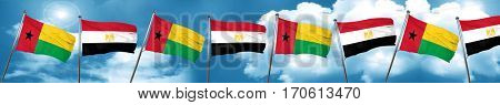 Guinea bissau flag with egypt flag, 3D rendering