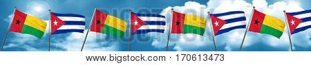 Guinea bissau flag with cuba flag, 3D rendering