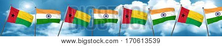 Guinea bissau flag with India flag, 3D rendering